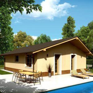Trojizbový bungalov so sedlovou strechou   woodhouse.sk