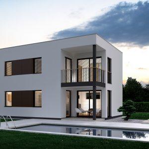 Dvojpodlažný nízkoenergetický dom s plochou strechou na kľúč | woodhouse.sk