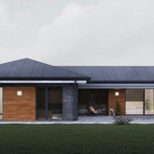 Moderný drevodem s valbovou strechou | woodhouse.sk