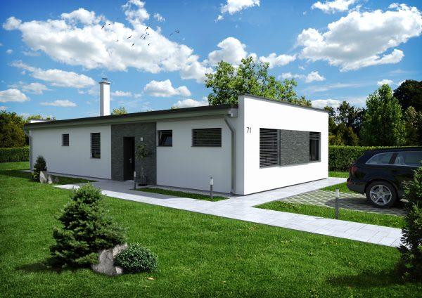 Moderný nízkoenergetický dom s plochou strechou | katalóg drevostavieb