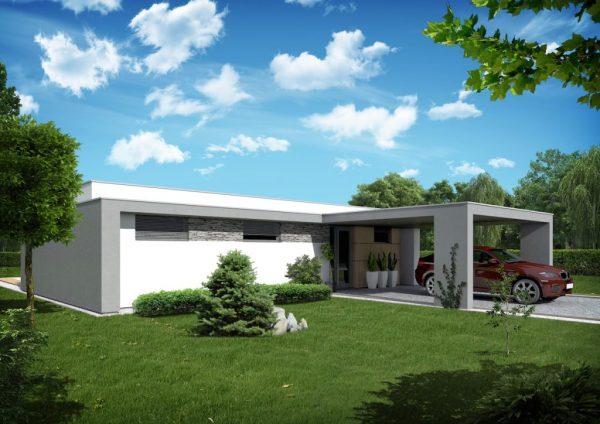 Jednopodlažný bungalov s plochou strechou | Drevostavby a nízkoenergetické domy