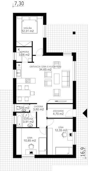 Drevostavba pre 4 – člennú rodinu | pôdorys | woodhouse.sk