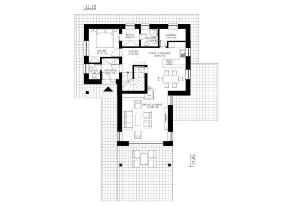 Pasívny dom so sedlovou strechou | pôdorys