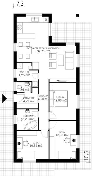 Jednopodlažný úzky nízkoenergetický dom | pôdorys