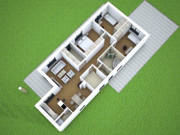 Jednopodlažný nízkoenergetický dom so sedlovou strechou | pôdorys