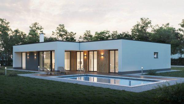 Jednopodlažná drevostavba s dvojgarážou | woodhouse.sk