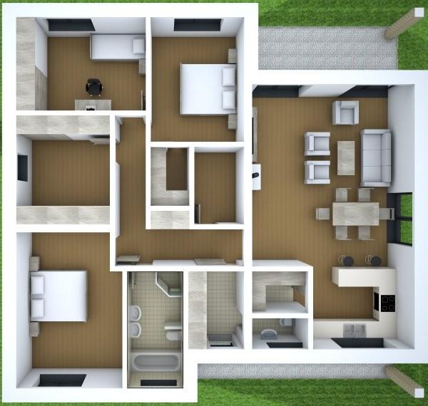 Moderný bungalov pre 4-člennú rodinu   katalóg projektov