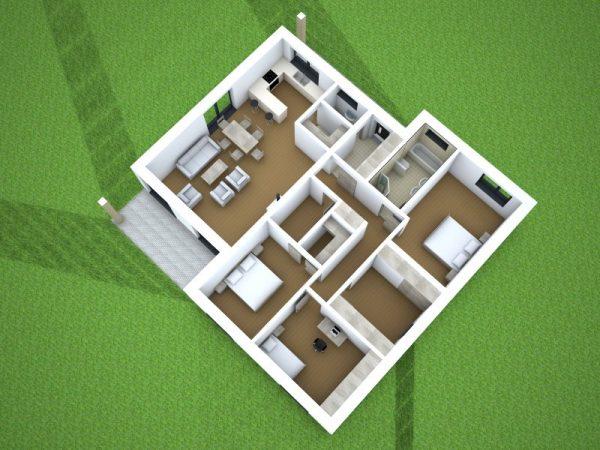 Moderný bungalov pre 4-člennú rodinu   katalóg drevostavieb