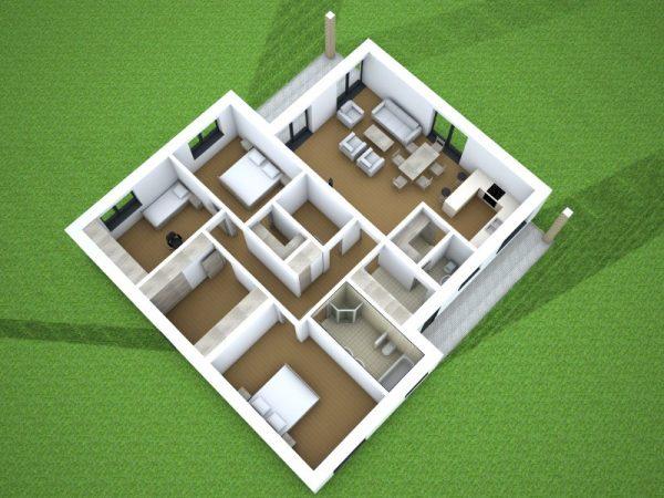Moderný bungalov pre 4-člennú rodinu   drevostavby a pasívne domy
