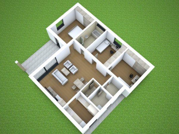 Nízkoenergetický dom pre 4-člennú rodinu   pôdorys