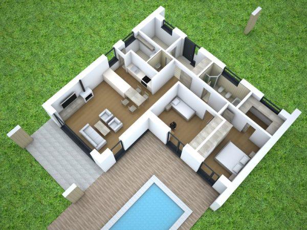Jednopodlažný bungalov s plochou strechou | pôdorys