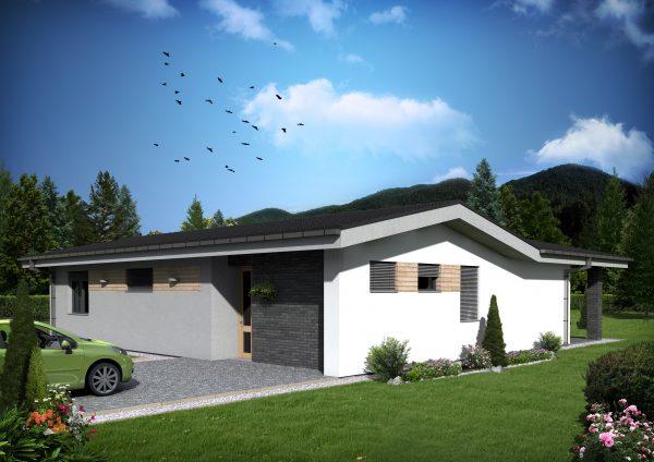Jednopodlažný bungalov vo tvare L | katalóg projektov