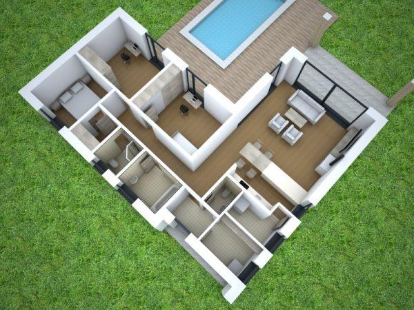 Nízkoenergetický dom vo tvare L pre 4-člennú rodinu | pôdorys