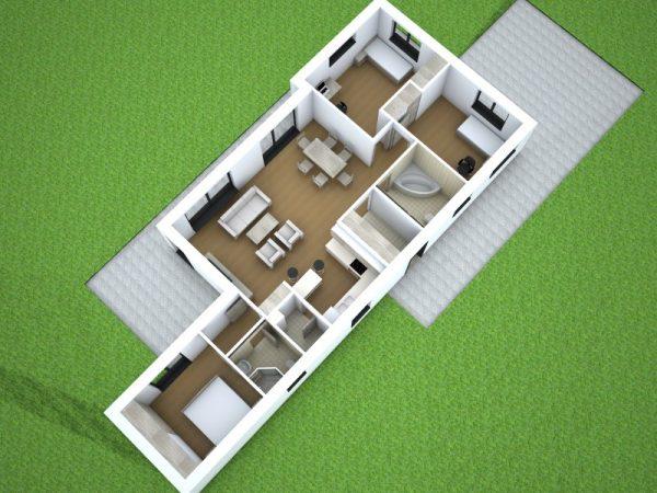 Moderný úzky drevodom s plochou strechou | projekt